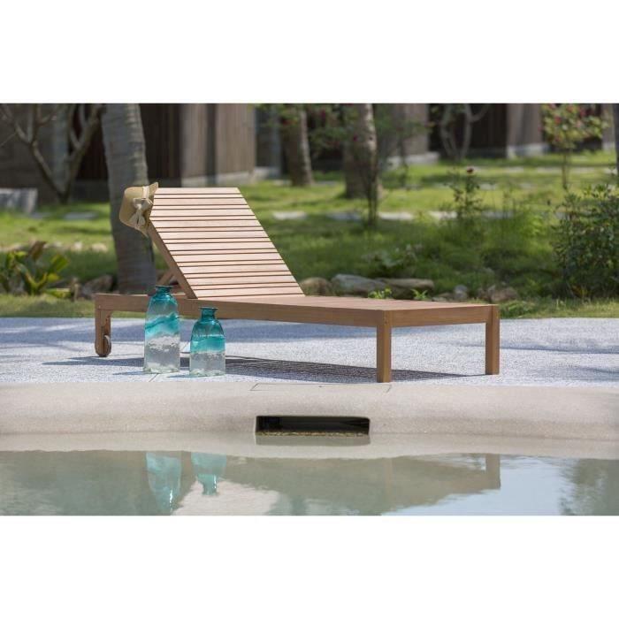 chaise longue de jardin rglable en bois deucalyp - Transat Piscine