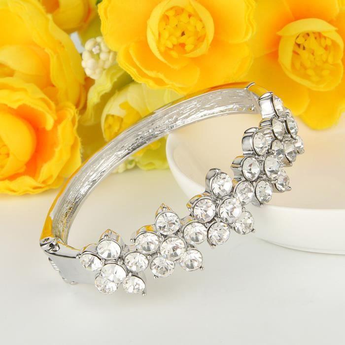 EVER FAITH®- Cristal Autrichien Mariage Fleur Bracelet Plaqué Argent Claire Femme N05246-1