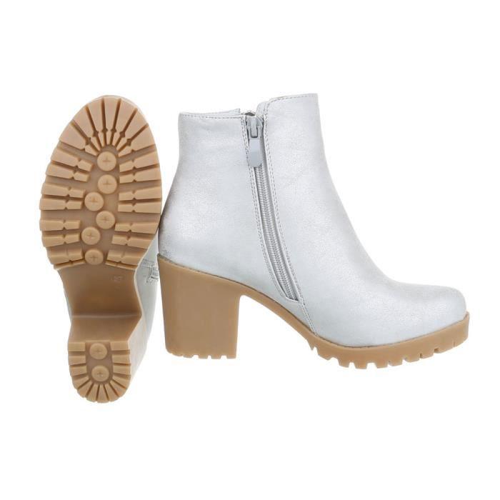 Bottines pour femme |Bottes actuelles boucle chaîne | Bottines hautes Look cuir | Bottes de travailleur| Chaussures à talon de bloc