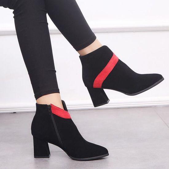 Talon Femme Flock Couleur Mixte Bottes Chaussureswll3775 Martin La Dames Haut De Les Short 3AL45jRq