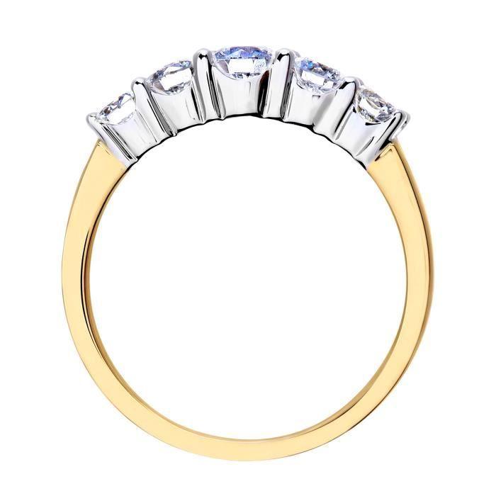 Revoni Bague alliance Diamant Or Jaune 750° Femme: Poids du diamant : 1 ct - CD-PR07901Y18JPK-P