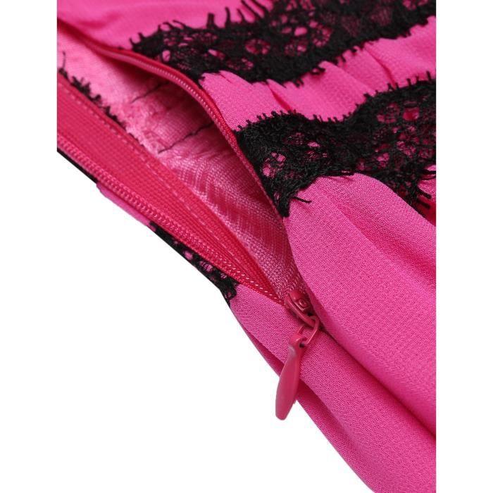 Robe plisséesans manches en dentelle Patchwork