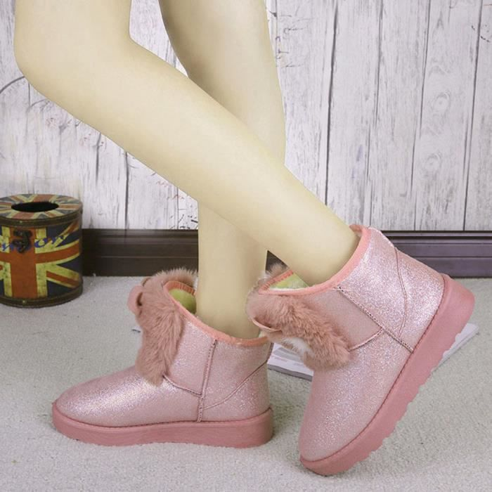 Mode Bottes pansy Lady Occasionnel Hiver Cheville Chaussures Neige rose Femmes Chaud AAxrvPq