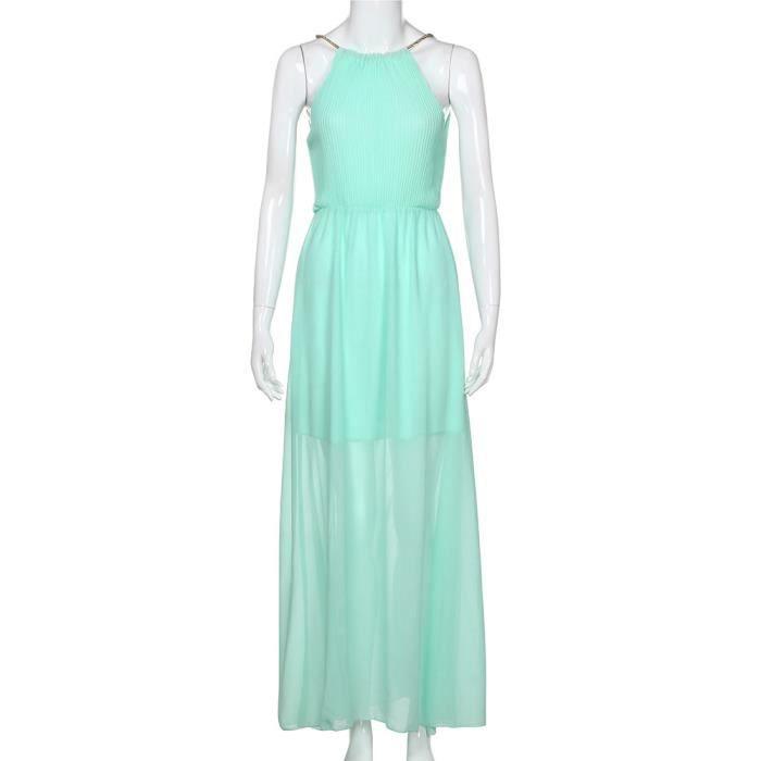 soirée formelle sans soirée de de de Bleu robe bal Womens longue manches en maxi soie mousseline HdaxqPwx