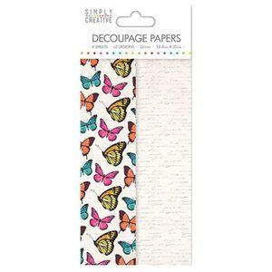 LA FOURMI Papier Découpage Papillons Vibrants 18,8x35cm x 4fl. (2x2 mod les)