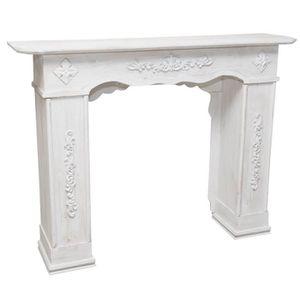 OBJET DÉCORATIF Cadre cheminée en bois finition blanche vieillie a