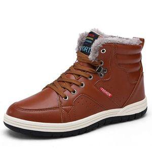 Mens Bottes de neige lacées cheville Chaussures de sport Chaussures montantes d'hiver avec doublure en fourrure XYMSV Taille-44 YJ61ys