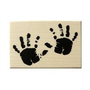 TAMPON DÉCORATIF Tampon naissance mains de bebe 4x6cm bois + cao…