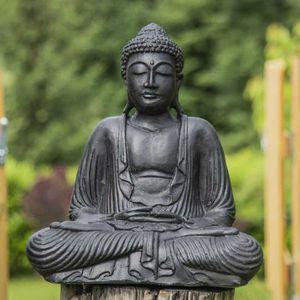 STATUE - STATUETTE Statue Bouddha assis position offrande noir 42 cm
