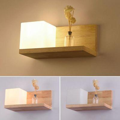 Lampe Lamp E27 Bois Pour Salon Simpe Couloir Applique Escalier Style Wall Base En Murale Chevet L5jA4R