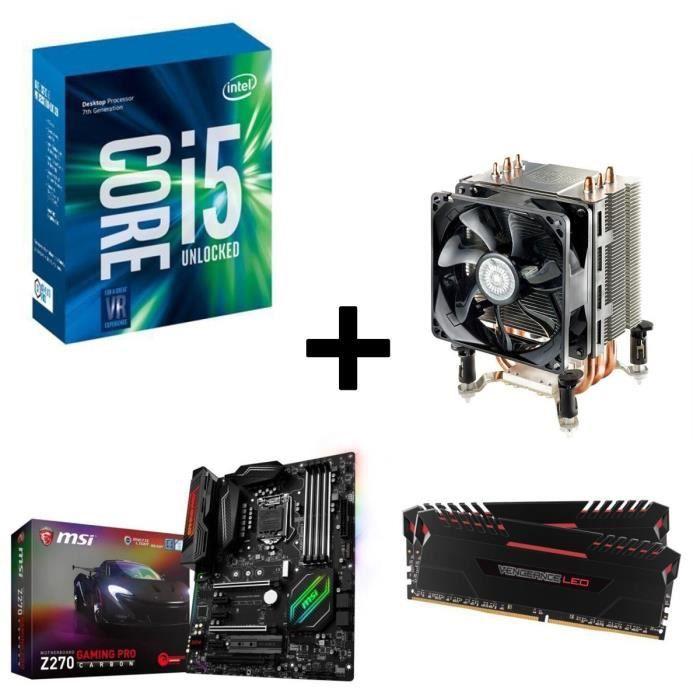 Kit Evo Core i5-7600K MSI Z270 GAMING PRO CARBON 16Go DDR4 3000MHz + Ventirad