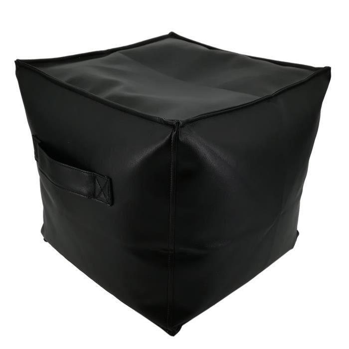 Pouf JACK GARNI - Simili Noir - 38x38x38 cm