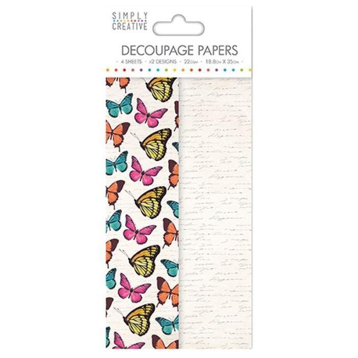 LA FOURMI Papier Découpage - Papillons Vibrants - 18,8x35cm x 4fl. (2x2 modèles)