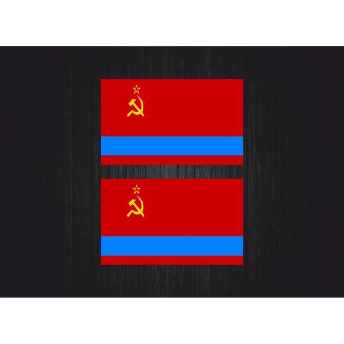 2x autocollant sticker urss ussr rss kazakhstan