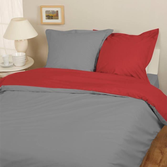 parure housse de couette flanelle 100 coton bicolore gris rouge 200x200 cm 2 taies d. Black Bedroom Furniture Sets. Home Design Ideas