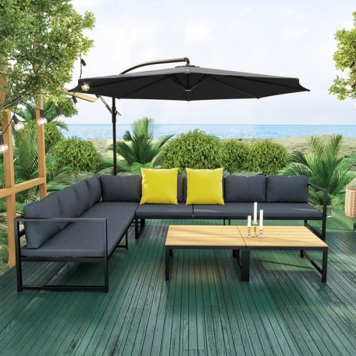Salon de jardin modulable aluminium + Parasol déporté rond Gris-Noir ...