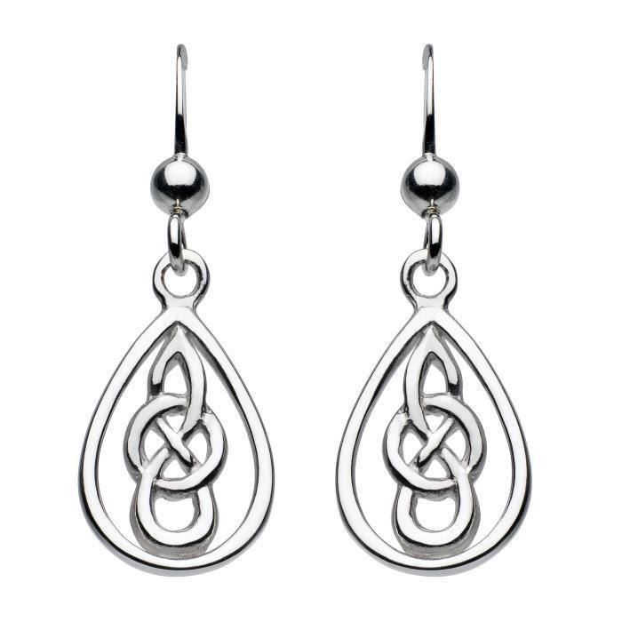 Heritage Femmes celtique en argent sterling Teardrop Boucles doreilles C0L51