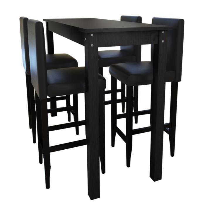 Ensemble De 1 Table Et 4pcs Tabourets De Bar Noir Pour Salle A