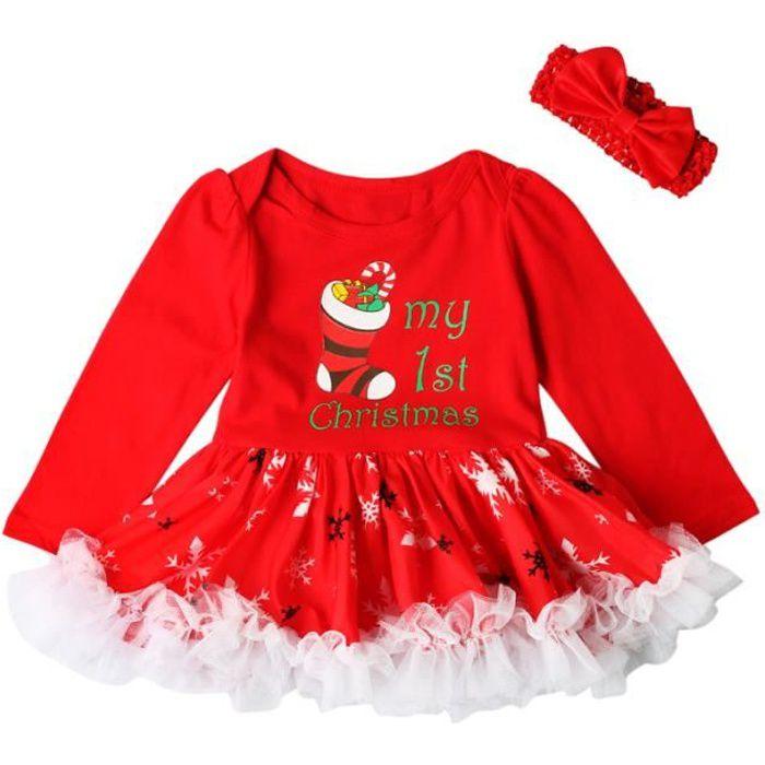 30e88fd309111 Fille Robe Tenue Première Fête Noël Pr Nouveau-né Body Bébé ...