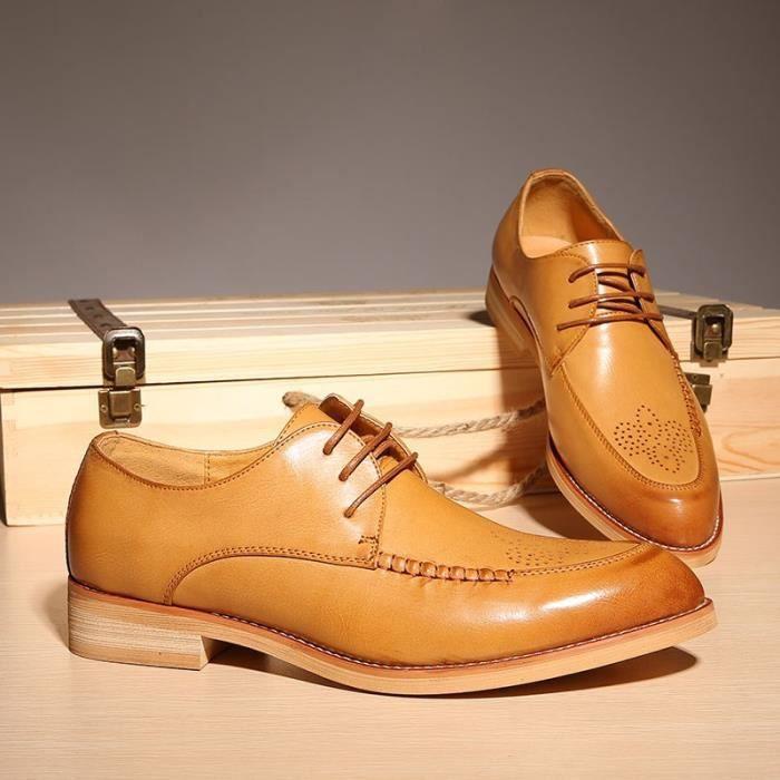 Mocassins richelieu British Style véritable chaussures en cuir sculpté Brun Noir Chaussures richelieu à lacets Bullock Business