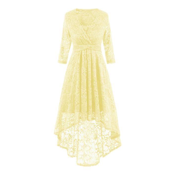 Womens Vintage LaceV Neck robe de soirée irrégulière Cocktail Party@Beige