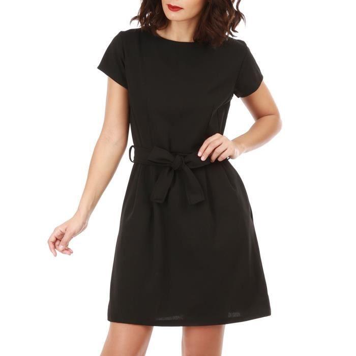 0691e7e644d8 Robe noire avec ceinture-S Noir Noir - Achat   Vente robe - Cdiscount