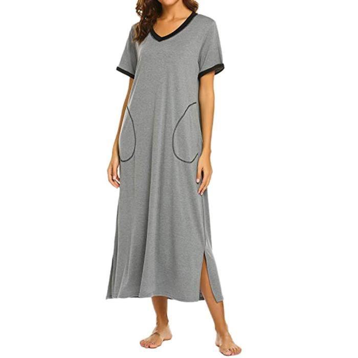 prix le plus bas Royaume-Uni vaste gamme de Chemise de nuit à manches courtes femmes chemise de nuit ultra-douce  Cadrage robe de nuit TRY728