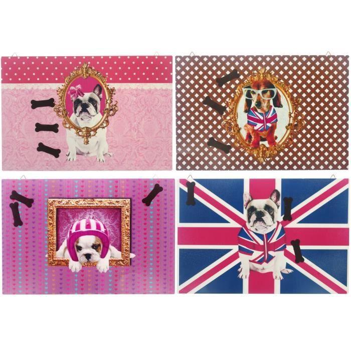 Lot 4 Tableaux Plaque En Métal Déco Chien Dog Star Avec 3 Magnet Os