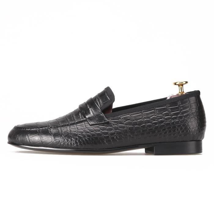 Hommes en cuir véritable main croco Chaussures Parti et mariage Hommes Mocassins Homme Flats causales