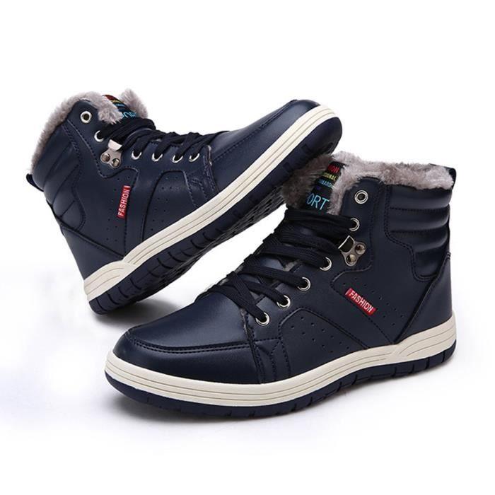 lacets Max Taille Mens Baskets fourrure cuir Chaussures de 38 1 et montantes de R7IV6 neige 2 à cheville Hiver antidérapants qXq8ga