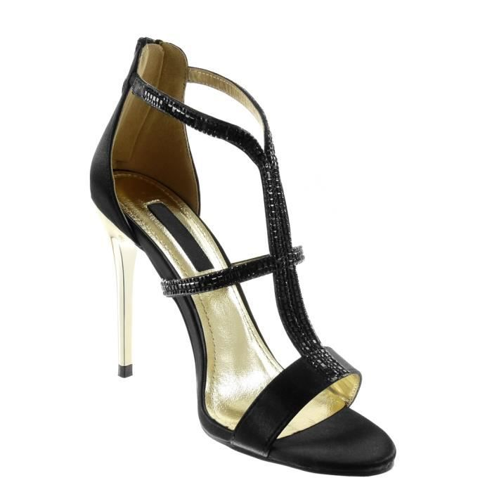 Angkorly - Chaussure Mode Escarpin Sandale stiletto montante femme strass diamant multi-bride Talon haut aiguille 10.5 CM - Noir -