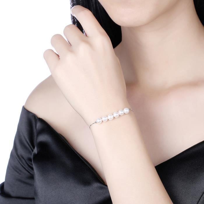 Bracelet femme en Plating Platinum 6 perles deau douce Bracelet Chaîne de poignet 18+3.5cm