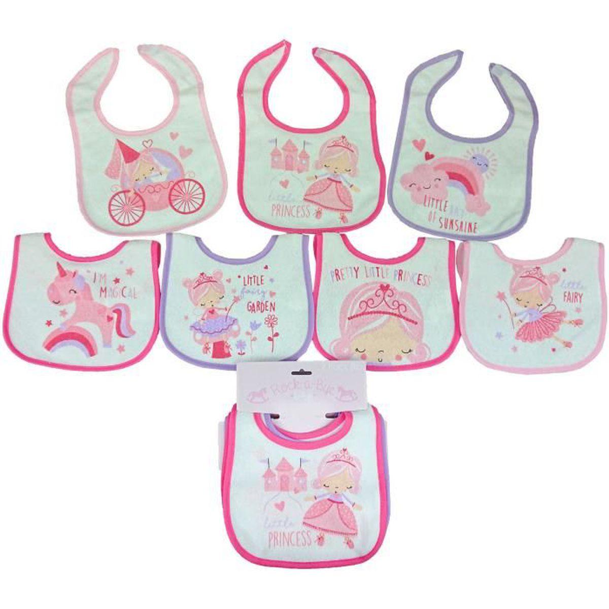 e24bbbbda1d70 Lot de 7 bavoirs naissance pour bébé fille thème
