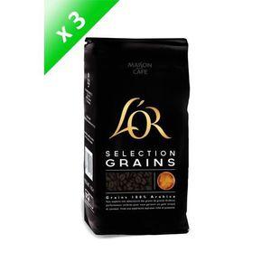 CAFÉ - CHICORÉE L'OR Café en grains Sélection - 3 paquets de 1 kg
