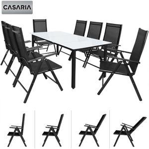 Salon de Jardin Aluminium Anthracite »Bern« 1 Table 8 chaises Pliantes  Plateau de Table en Verre dépoli Dossier réglable 7 Positions