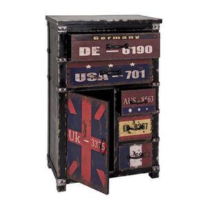 COMMODE DE CHAMBRE Commode 6 noir-vintage, L60 x H100 x P33 cm