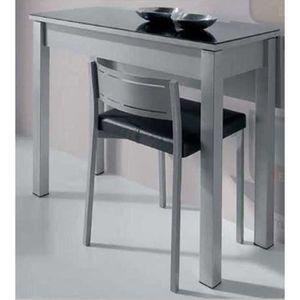 TABLE À MANGER SEULE Table pliante retangulaire en verre blanc et mélam