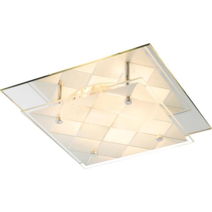 Plafonnier Chrome - Verre - Miroir - LxWxH:240x240x85 - Ampoule non incluse 1xE27 ILLU 60W 230VPLAFONNIER