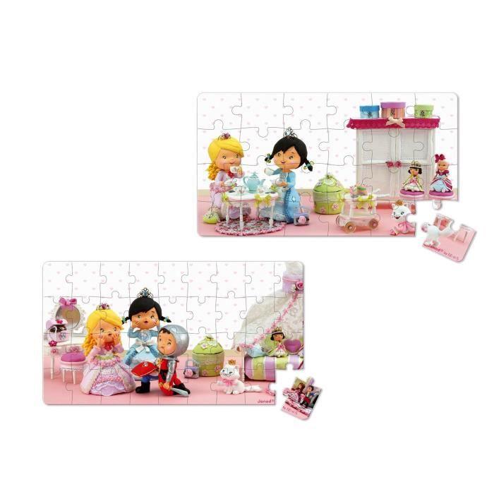 JANOD Lot de 2 Puzzles Lovely ''Rose joue à la princesse''