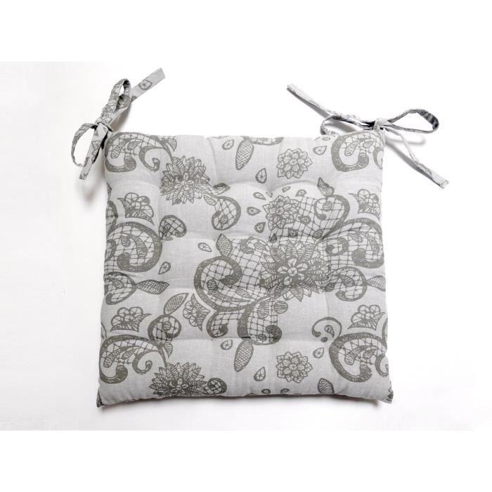 SOLEIL D'OCRE Galette de chaise capitonnée Black Dress 100% coton 40x40x5 cm gris