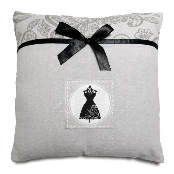 soleil d 39 ocre coussin black dress 40x40 cm gris et noir. Black Bedroom Furniture Sets. Home Design Ideas