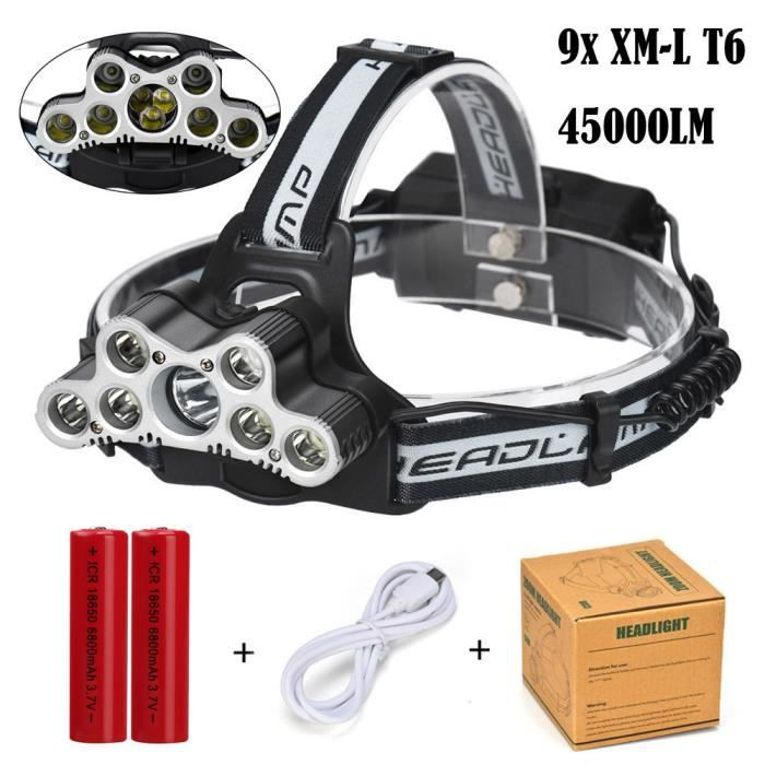 Wdd70925287 T6 Voyage 1234 Frontale Phare Rechargeable 9x Lampe Led Xm Projecteur 45000 Lm L Ybfgv76y