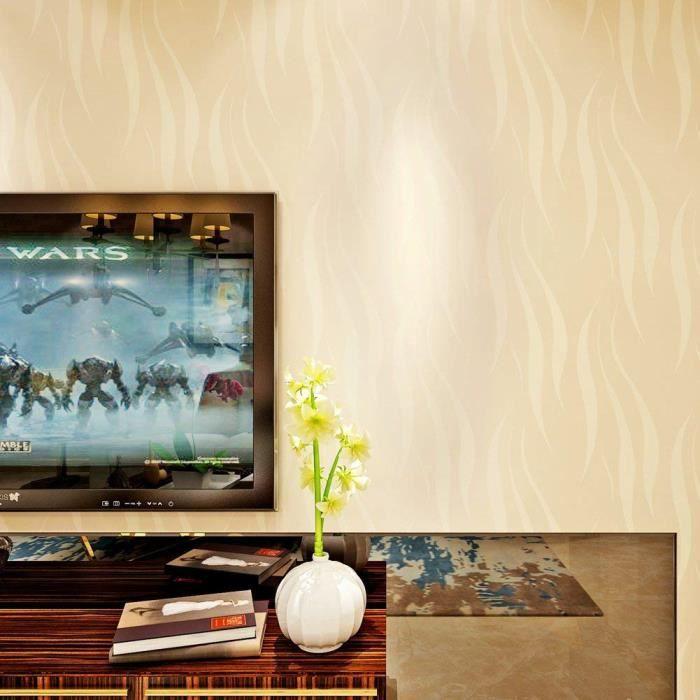 Papier Peint Moderne Intissé Motif De Rayures 3D Flocage Pour Chambre Salon  TV Fond Bureau 0,53m*10m