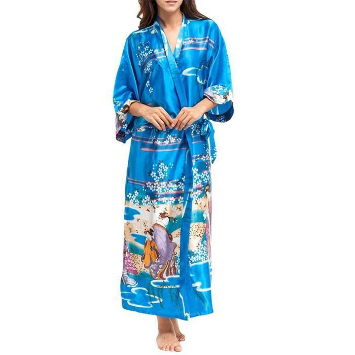 Bleu Robe Longue Chemise Femme Vêtement De Pyjama Nuit q0Sqx1