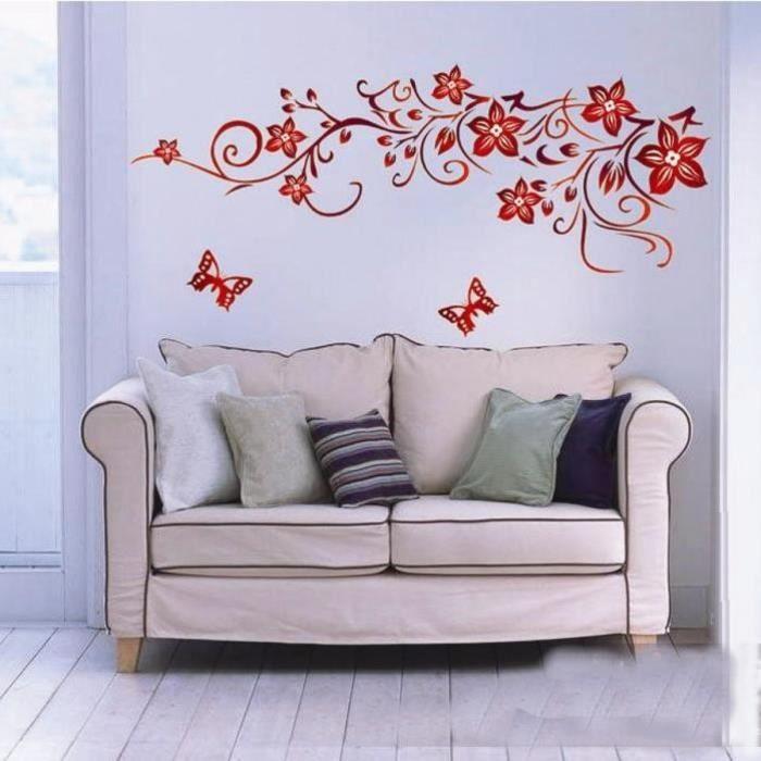 Rouge Foncé Fleur Papillon Mur De La Salle À Manger Amovible ...