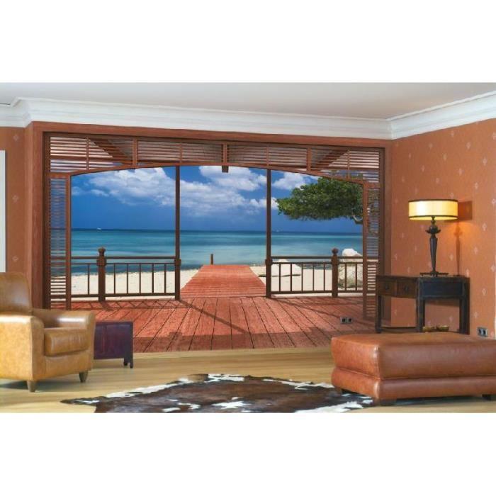 Tapisserie photo d 39 une vue sur une plage avec l 39 ocean 8 for Repeindre sur une tapisserie