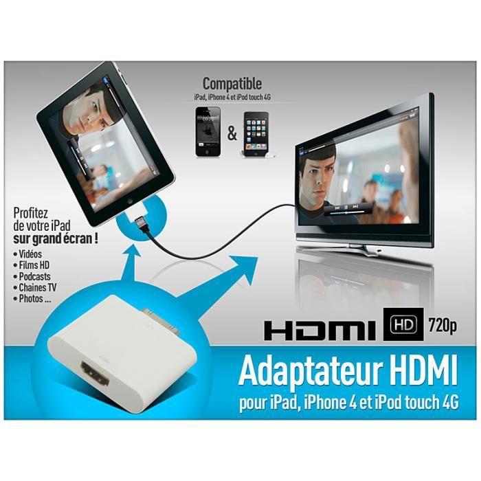 adaptateur hdmi iphone 4 ipad ipod achat c ble t l phone pas cher avis et meilleur prix. Black Bedroom Furniture Sets. Home Design Ideas
