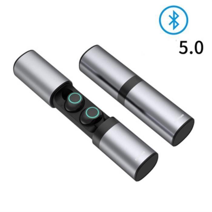 Sans Fil Bluetooth 5.0 Écouteur Stereo Automatique Appariement Sport Étanche Intégré Microphone Avec 1200mah Boîte De Charge-gris