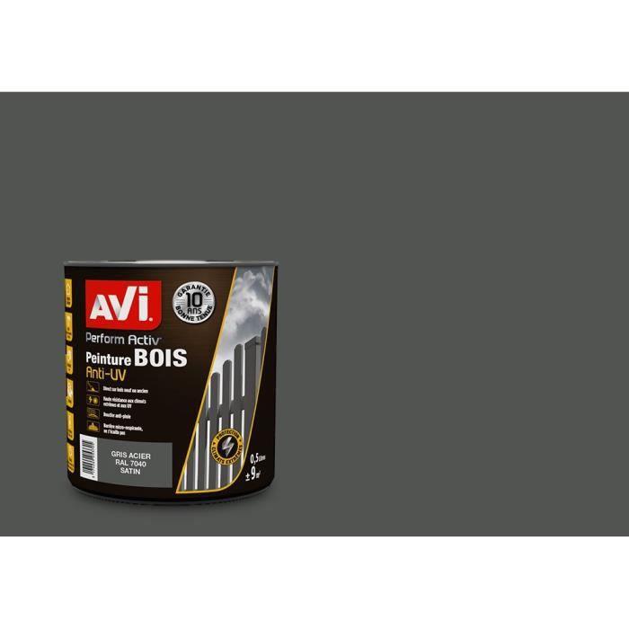 PEINTURE - VERNIS AVI Peinture pour bois - Gris acier satin - 0,5 L