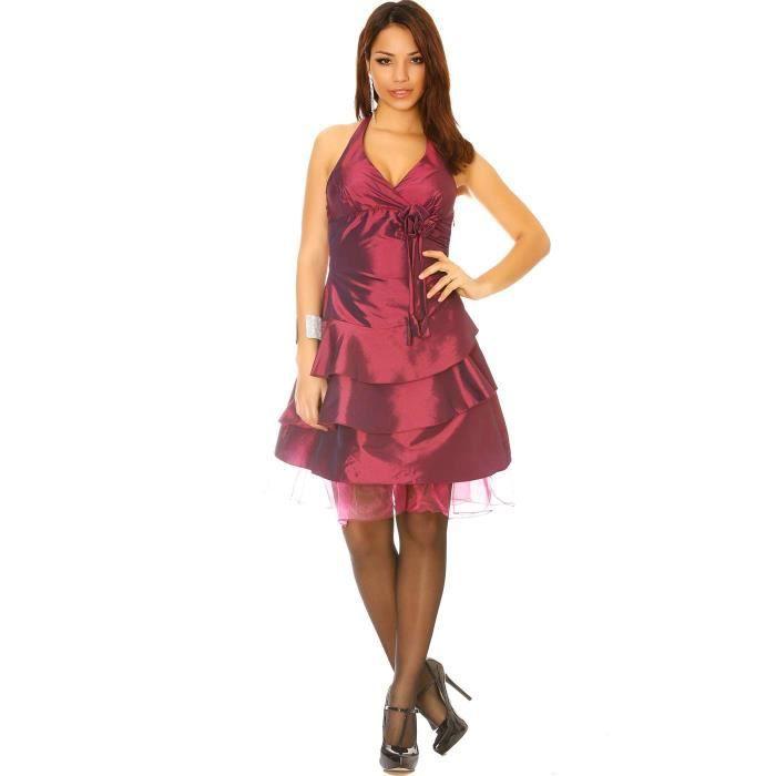 Miss Wear Line - Robe de cocktail, lélégance en satin couleur prune -